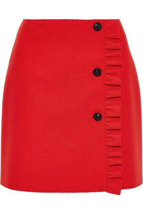 MSGM Ruffle-trimmed cady mini skirt