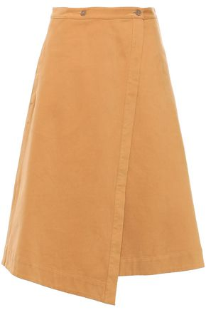 ACNE STUDIOS Washed cotton-blend twill midi wrap skirt