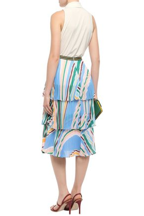 RACHEL GILBERT Tiered pleated striped georgette skirt