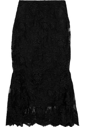 SIMONE ROCHA Scalloped fluted lace midi skirt