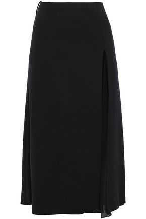 CAROLINA HERRERA Paneled wool-blend crepe and silk-georgette midi skirt