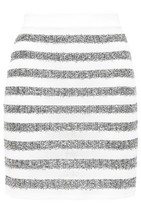 BALMAIN Metallic striped stretch-knit mini skirt