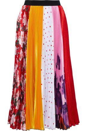 MSGM Plissé printed satin midi skirt