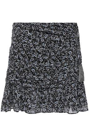 VERONICA BEARD Ruched printed silk-georgette mini skirt