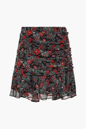 VERONICA BEARD Ruched printed silk-georgette mini skirt