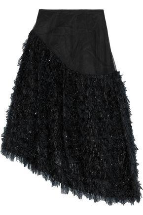 SIMONE ROCHA Asymmetric tinsel-appliquéd tulle skirt