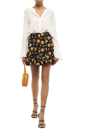 VERONICA BEARD Fluted floral-print washed-silk mini skirt