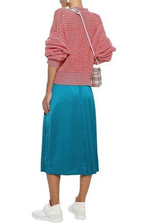 MSGM Pleated satin midi skirt
