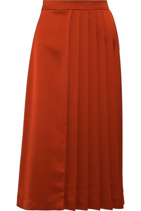 MSGM Pleated satin midi skirt