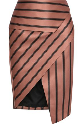 MICHELLE MASON Wrap-effect striped satin peplum skirt