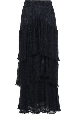 SONIA RYKIEL Tiered frayed crochet-knit maxi skirt
