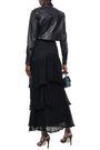 SONIA RYKIEL Tiered frayed crochet-knit maxi skirt