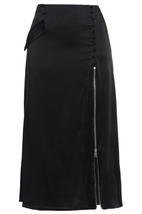 JONATHAN SIMKHAI Zip-detailed satin midi skirt