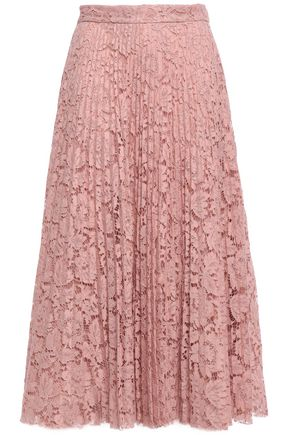 VALENTINO Pleated guipure lace midi skirt