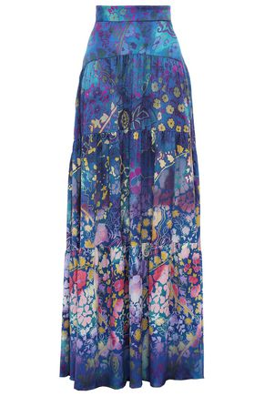 PETER PILOTTO Floral-print hammered silk-satin maxi skirt