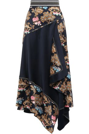 PETER PILOTTO Asymmetric printed hammered-silk maxi skirt