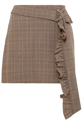 MAGGIE MARILYN Belted ruffle-trimmed checked wool mini skirt