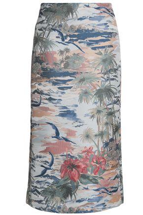 VALENTINO Printed jacquard midi pencil skirt