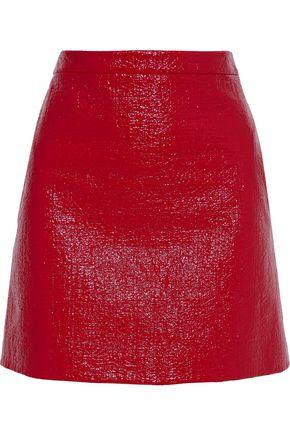 VERSACE Coated cotton-blend tweed mini skirt