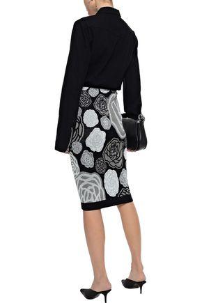 VERSUS VERSACE Cotton-blend floral-jacquard pencil skirt