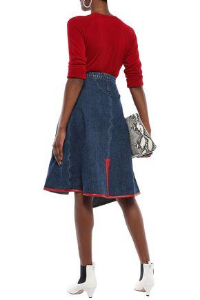 ACNE STUDIOS Asymmetric faux leather-trimmed denim wrap skirt