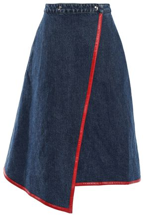 ACNE STUDIOS Asymmetric faux leather-trimmed denim wrap skirt