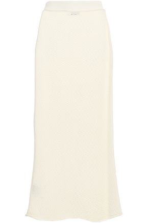 JIL SANDER Pointelle-knit wool midi skirt