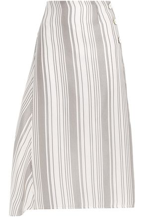 JIL SANDER Asymmetric striped woven silk-jacquard skirt
