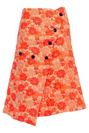 JIL SANDER Floral-jacquard wrap skirt