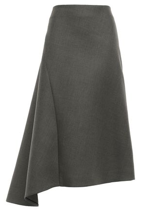 JIL SANDER Asymmetric wool-twill skirt