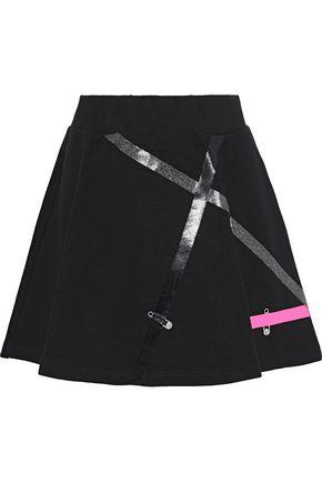 VERSUS VERSACE Flared appliquéd French cotton-terry mini skirt
