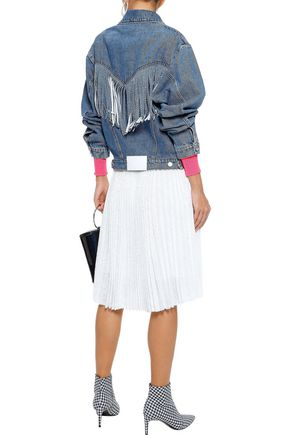 MSGM Printed crepe-trimmed sequined tulle skirt