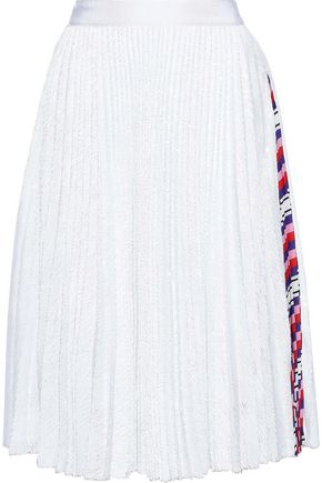 a114db298 MSGM Printed crepe-trimmed sequined tulle skirt