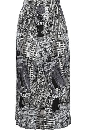 MSGM Pleated printed satin-twill midi skirt