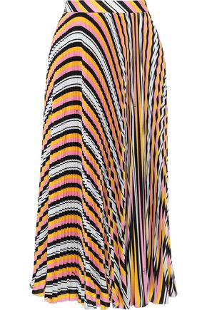 MSGM Pleated striped crepe de chine midi skirt