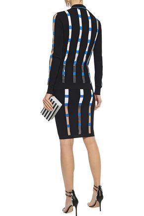 VERSACE Mesh-trimmed ribbed-knit pencil skirt
