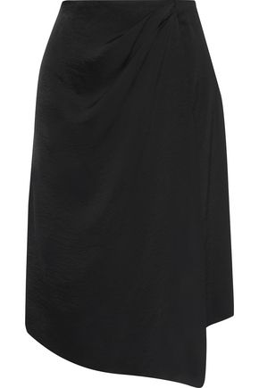 IRIS & INK Liseth wrap-effect hammered satin skirt