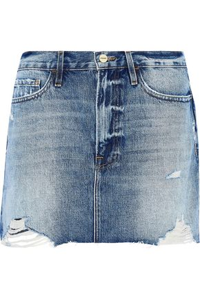 FRAME Le Mini distressed denim mini skirt
