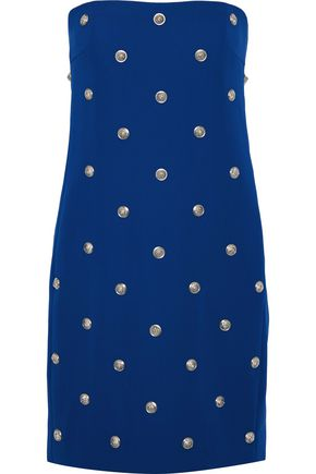 VERSUS VERSACE Strapless button-embellished stretch-crepe mini dress