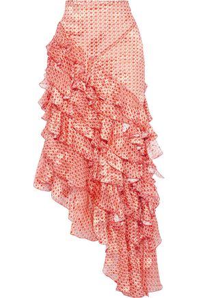 ANTONIO BERARDI Asymmetric ruffled printed fil coupé chiffon maxi skirt