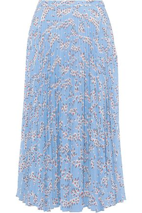 MARKUS LUPFER Hailey pleated floral-print crepe de chine midi skirt