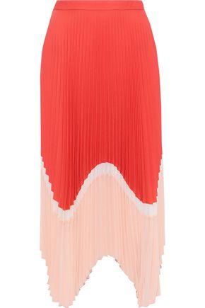 MARKUS LUPFER Cloe pleated color-block crepe de chine midi skirt