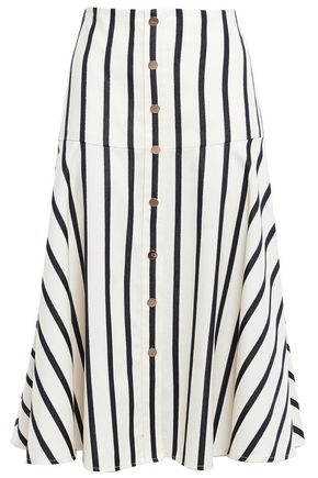 VERONICA BEARD Metallic-trimmed striped cotton midi skirt