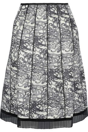 MARC JACOBS Pleated organza-trimmed printed silk skirt