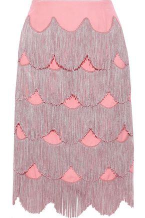 MARC JACOBS Fringed silk-crepe skirt