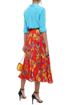 MSGM Pleated floral-print crepe midi skirt
