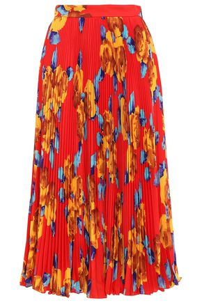 MSGM Pleated floral-print crepe midi skirt