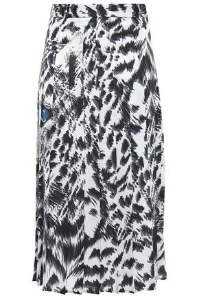 MSGM Pleated printed cady midi skirt