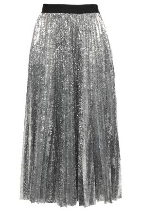 MSGM Plissé sequined tulle midi skirt