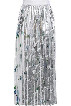 MSGM Pleated coated printed satin-crepe midi skirt